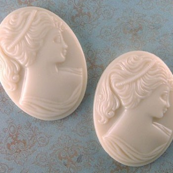 vintage glass portrait cameos in ivory