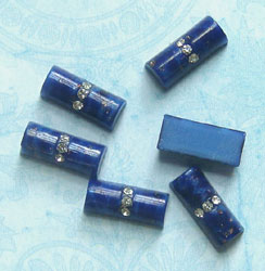 faux lapis cabochons with rhinestones
