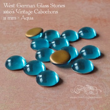 11mm aqua glass cabochon