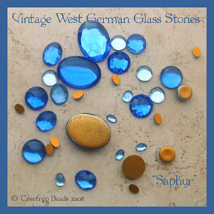 saphyr blue glass cabochons
