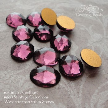 Amethyst faceted glass cabochons