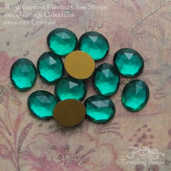 10x12 faceted emerald glass cabs