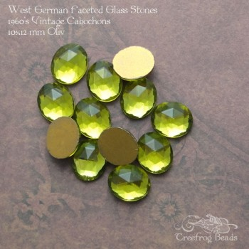 Vintage West German faceted glass cabochons in olive green.