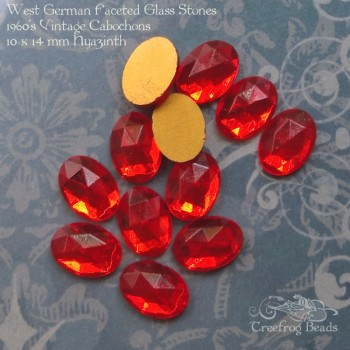 vintage WG faceted glass stones in hyacinth orange