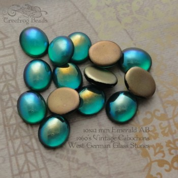 10x12 Emerald AB glass cabochons
