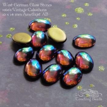 10x14 amethyst ab glass cabochons