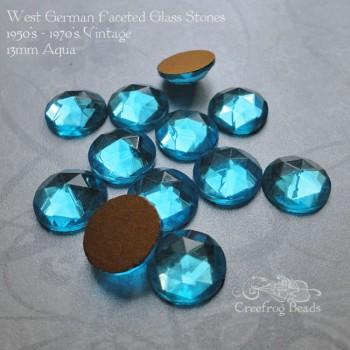13mm faceted aqua stones