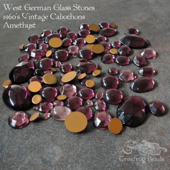 Vintage glass cabochons in Amethyst