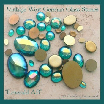 Emerald AB glass stones