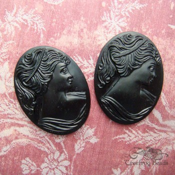 black glass portrait cameos