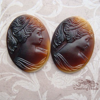 Vintage brown glass cameos
