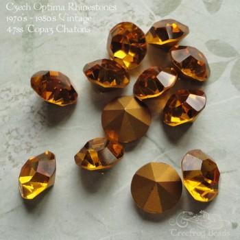 Vintage Czech rhinestones in Topaz