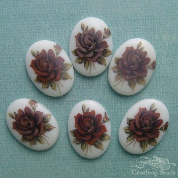 Vintage decal cabochons with purple rose design