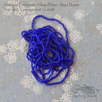 antique micro seed beads in cobalt blue