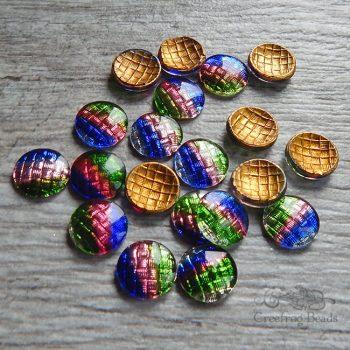 vintage glass cabochons 13mm multicolor textured cassata stones