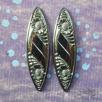vintage glass marquise cabochon in dark pewter