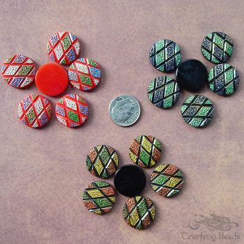 18 mm glass cabochons with geometric argyle pattern in 3 different color schemes