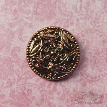 vintage glass cabochon - 27 mm round coppery bronze focal