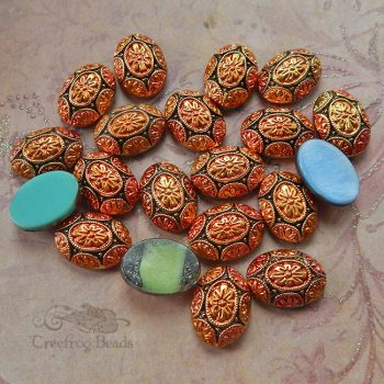 18x13 mm vintage glass cabochons with geometric pattern
