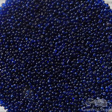 Vintage Italian seed beads - size 13/0 transparent dark cobalt or indigo blue