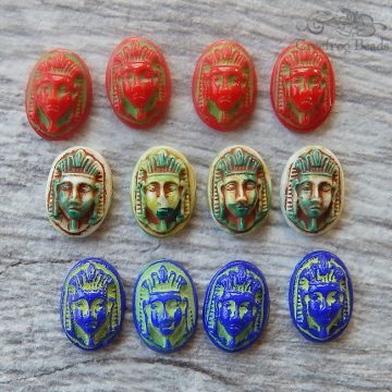 Vintage West German glass cameo - Egyptian pharaoh  in 3 colors